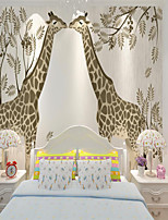 cheap -Custom self-adhesive mural wallpaper two giraffes children cartoon style suitable for bedroom children's room school party Wallpaper / Mural / Wall Cloth Room Wallcovering