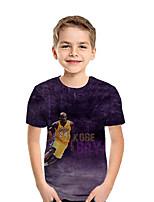 Недорогие -Дети Мальчики Активный Уличный стиль Геометрический принт Контрастных цветов 3D С короткими рукавами Футболка Лиловый