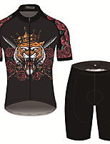 cheap -21Grams Men's Short Sleeve Cycling Jersey with Shorts Black / Red Animal Bike UV Resistant Quick Dry Sports Patterned Mountain Bike MTB Road Bike Cycling Clothing Apparel / Stretchy
