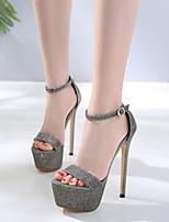 cheap -Women's Sandals Stiletto Heel Round Toe PU Spring & Summer Black / Gold