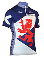 cheap -21Grams Men's Short Sleeve Cycling Jersey 100% Polyester Blue / White Dragon Scotland National Flag Bike Jersey Top Mountain Bike MTB Road Bike Cycling UV Resistant Breathable Quick Dry Sports