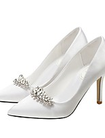 cheap -Women's Wedding Shoes Stiletto Heel Pointed Toe Rhinestone Microfiber Spring & Summer Wine / White / Champagne
