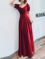 cheap -A-Line Sweetheart Neckline Floor Length Velvet Retro / Red Prom / Formal Evening Dress with Sash / Ribbon 2020