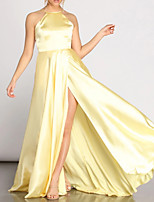 cheap -A-Line V Neck Floor Length Charmeuse Reformation Amante / Gold Prom / Formal Evening Dress with Pleats / Split 2020