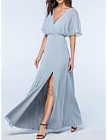 cheap -A-Line V Neck Floor Length Chiffon Elegant / Blue Wedding Guest / Prom Dress with Split 2020