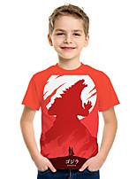 Недорогие -Дети Мальчики Активный Уличный стиль 3D С принтом С короткими рукавами Футболка Красный