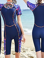 cheap -Women's Rash Guard Dive Skin Suit Top Bottoms Breathable Short Sleeve 2-Piece Front Zip - Swimming Diving Water Sports Patchwork Spring Summer