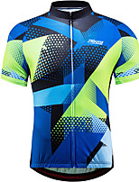 cheap -21Grams Men's Short Sleeve Cycling Jersey 100% Polyester Blue+Green Plaid / Checkered Bike Jersey Top Mountain Bike MTB Road Bike Cycling UV Resistant Breathable Quick Dry Sports Clothing Apparel