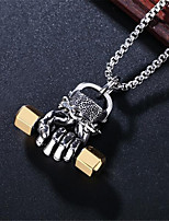cheap -Men's Pendant Necklace Classic Precious Dumbbell Punk Rock Fashion Titanium Steel Gold Silver 61 cm Necklace Jewelry For Halloween Party Evening Street Festival