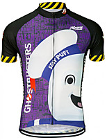 cheap -21Grams Men's Short Sleeve Cycling Jersey 100% Polyester Purple Cartoon Bike Jersey Top Mountain Bike MTB Road Bike Cycling UV Resistant Breathable Quick Dry Sports Clothing Apparel / Stretchy