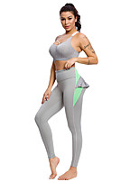 cheap -Women's Yoga Suit Winter Gray Elastane Yoga Fitness Gym Workout Pants / Trousers Bra Top Sleeveless Sport Activewear Breathable Quick Dry Tummy Control Stretchy