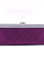 cheap -Women's Crystals Polyester / Alloy Evening Bag Solid Color Black / Wine / White