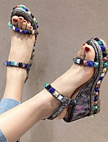cheap -Women's Sandals Wedge Heel Open Toe PU Summer Gold / Silver