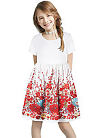 cheap -Kids Girls' Basic Cute Sun Flower Floral Color Block Patchwork Print Short Sleeve Knee-length Dress White