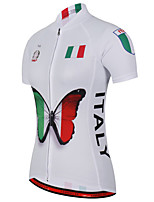 cheap -21Grams Women's Short Sleeve Cycling Jersey 100% Polyester Red / White Butterfly Italy National Flag Bike Jersey Top Mountain Bike MTB Road Bike Cycling UV Resistant Breathable Quick Dry Sports