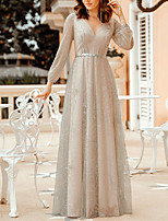 cheap -A-Line V Neck Floor Length Polyester / Tulle / Sequined Sparkle / Grey Formal Evening / Party Wear Dress with Sequin / Sash / Ribbon 2020 / Illusion Sleeve
