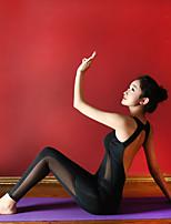 cheap -Women's Aerial Yoga Jumpsuit Winter Black White Elastane Ballet Dance Gymnastics Romper Sport Activewear Breathable Soft Stretchy