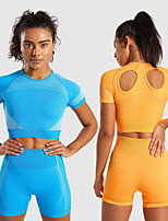cheap -Women's Crop Top Cut Out Color Block Fuchsia Orange Green Blue Yoga Fitness Gym Workout Top Short Sleeve Sport Activewear Breathable Comfortable Stretchy
