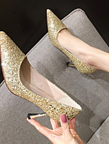 cheap -Women's Heels Crystal Sandals Stiletto Heel Pointed Toe PU Spring & Summer Gold / Silver / Black / Daily