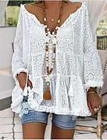 cheap -Women's Daily Casual Vacation Boho Lace T-shirt - Solid Colored Lace / Hollow Out / Eyelet V Neck White / Spring / Summer