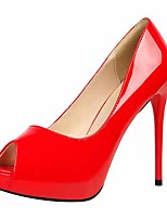 cheap -Women's Heels Stiletto Heel Open Toe Faux Leather Casual / Minimalism Spring / Summer Black / Almond / Nude
