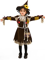cheap -Scarecrow Outfits Kid's Girls' Halloween Halloween Festival / Holiday Polyster Brown Carnival Costumes / Dress / Belt / Hat / Neckwear