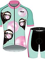 Недорогие -21Grams Муж. С короткими рукавами Велокофты и велошорты Розовый + зеленый Животное Воздушные шары леность Велоспорт Наборы одежды Устойчивость к УФ Дышащий 3D / Эластичная / Быстровысыхающий
