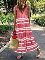 cheap -Women's Loose Dress - Striped Red Maxi S M L XL