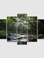 cheap -Print Rolled Canvas Prints Green Modern Landscape set of 5 pcs without Frame Art Prints
