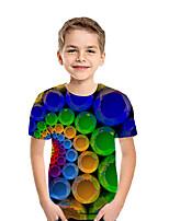 Недорогие -Дети Мальчики Активный Уличный стиль Геометрический принт Контрастных цветов 3D С короткими рукавами Футболка Цвет радуги