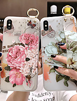 cheap -iPhone XS Max Blooming Flower Pattern Mobile Phone Case 6/7 / 8Plus White Background Wrist Strap Case
