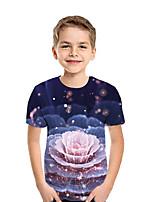 cheap -Kids Boys' Active Street chic Floral Patchwork Print Short Sleeve Tee Rainbow