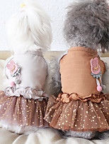 cheap -Dog Costume Dress Dog Clothes Breathable Gray Coffee Costume Beagle Bichon Frise Chihuahua Cotton Polka Dot Voiles & Sheers Rabbit / Bunny Party Cute XS S M L XL