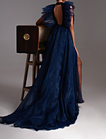 cheap -A-Line Halter Neck Court Train Tulle Sexy / Blue Engagement / Formal Evening Dress with Ruffles / Split / Lace Insert 2020