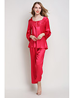 cheap -Women's Cut Out / Mesh Chemises & Gowns / Robes / Satin & Silk Nightwear Jacquard / Solid Colored Blushing Pink Fuchsia Red S M L
