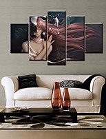 cheap -5 Panels Modern Canvas Prints Painting Home Decor Artwork Pictures DecorPrint Rolled  Stretched  Modern Art Prints People Cartoon