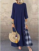 cheap -Women's Shift Dress - Color Block Red Navy Blue S M L XL