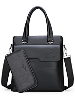 cheap -Men's Zipper PU Bag Set Solid Color 2 Pieces Purse Set Black / Brown