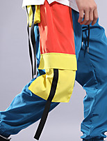 cheap -Men's Yoga Pants Drawstring Color Block Blue+Yellow Running Fitness Gym Workout Bottoms Sport Activewear Breathable Soft Stretchy