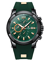 cheap -Men's Sport Watch Quartz Silicone 30 m Calendar / date / day Chronograph Noctilucent Analog Fashion Cool - Black+Gloden Green Blue One Year Battery Life