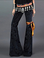 cheap -Hippie Disco Vintage Boho 1960s Pants Flowy Pants Women's Velvet Costume Black Vintage Cosplay Party