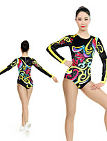 cheap -Rhythmic Gymnastics Leotards Artistic Gymnastics Leotards Women's Girls' Leotard Black Spandex High Elasticity Handmade Jeweled Diamond Look Long Sleeve Competition Dance Rhythmic Gymnastics Artistic