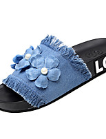 cheap -Women's Slippers & Flip-Flops Flat Heel Open Toe Satin Flower Canvas / Denim Classic / Casual Walking Shoes Summer Dark Blue / Light Blue