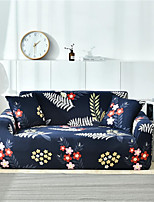 cheap -Navy Blue Floral Print Dustproof All-powerful Slipcovers Stretch Sofa Cover Super Soft Fabric Couch Cover with One Free Pillow Case