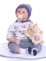 cheap -NPKCOLLECTION 22 inch Reborn Doll Baby Baby Boy Cute Hand Made Artificial Implantation Blue Eyes Oxford Cloth Cloth 3/4 Silicone Limbs and Cotton Filled Body with Clothes and Accessories for Girls