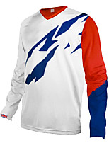 cheap -21Grams Men's Long Sleeve Cycling Jersey Downhill Jersey Dirt Bike Jersey 100% Polyester Red / White Red+Blue Bike Jersey Top Mountain Bike MTB Road Bike Cycling UV Resistant Breathable Quick Dry