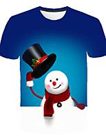 cheap -Kids Boys' Basic Street chic Snowman Color Block 3D Christmas Print Short Sleeve Tee Rainbow