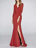 cheap -Mermaid / Trumpet V Neck Floor Length Polyester Elegant / Red Wedding Guest / Formal Evening Dress with Draping / Split 2020