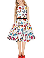 cheap -Kids Girls' Vintage Cute Butterfly Color Block Animal Patchwork Print Sleeveless Above Knee Dress White