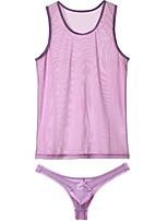 cheap -Men's Mesh Suits Nightwear Solid Colored White Purple Blue S M L